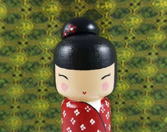 Kokeshi Peg Doll wooden japanese doll traditional Red flowers