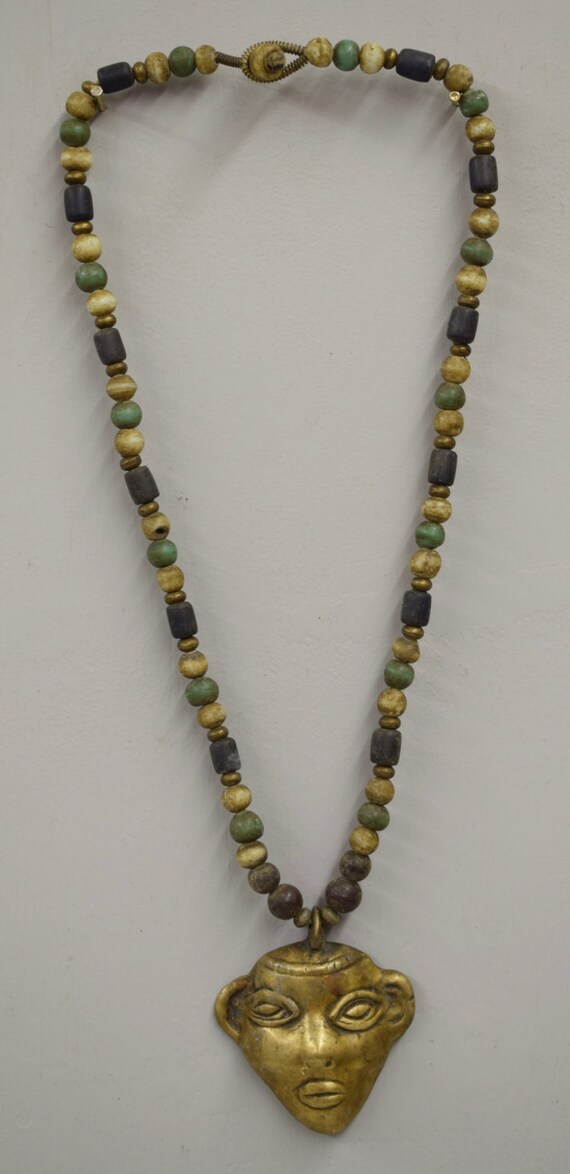 Naga Necklace Brass Head Pendant India Handmade Yellow Blue Green Beads Trophy Naga Brass Head Necklace Unique
