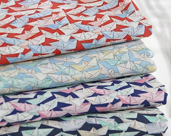 Paper Boats, 60S Cotton Fabric, by Yard,145cm width