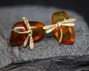 Amber Dragonflies earrings in 925 silver dragonfly
