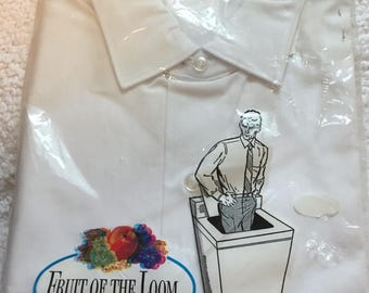 Fruit of the Loom Vintage Mens Perma Press Dress Shirt White 15/2 32 NEW!