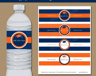 Graduation Water Bottle Labels Printable, Orange Navy Graduation Water Bottle Stickers, Grad Party Decor Download, Editable Water Labels G6