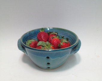 Pottery / Berry Bowl / Colander Turquoise ,Ceramic Bowl ,  Stoneware Bowl , Pottery Bowl, Fruit Bowl,Serving Bowl,  Handmade / Kings Pottery