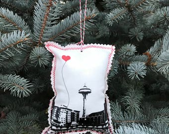 Seattle Space Needle Fabric Ornament