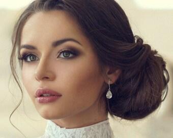 Teardrop bridal earrings - wedding earrings - bridal jewelry - bridesmaids earrings - Avery earrings