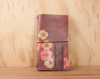 Midori Notebook - Leather Journal - Travelers Notebook - Moleskine - Poppy garden pattern with flowers