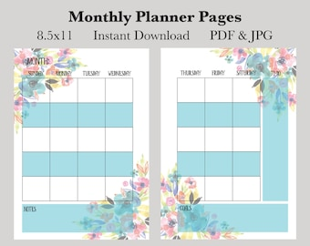 Monthly Planner Pages, Instant Download Printable Planner Pages, 8.5x11 Monthly Calendar Pages, Undated Planner Pages, 2017 Planner