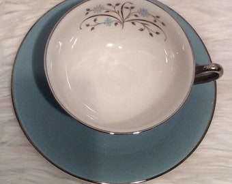 Syracuse China Blue Silver Floral Cups Saucers Set of 7 Gorgeous