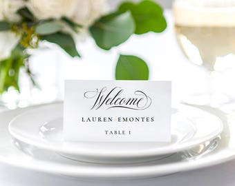 Wedding Place Card Template, Printable Place Cards, Wedding Table Numbers, Calligraphy Welcome Wedding Place Card Template Instant Download