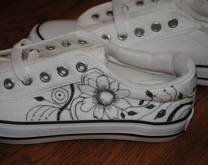 For Sale  New flowers and swirls design in hand painted sneakers Womens size 8 tight or  size 38/40  READY TO SHIP