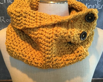 Penelope Cowl - crocheted cowl in Sungold color