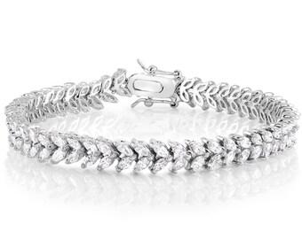 Bridal Bracelet, Wedding Bracelet, White Gold Bracelet, Wedding Jewelry, Bridal Jewelry, Zirconia Bracelet, Diamond Bracelet, Bridal Cuff