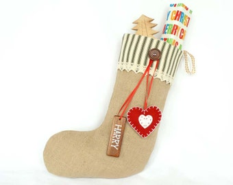 Personalized Shabby Chic Christmas Stocking in Green Ticking with pure wool felt heart decoration and wooden name tag