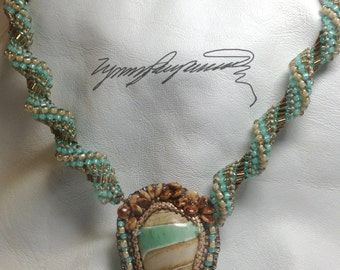 Sand of the Sea created by Lynn Parpard,  Stunning Rare Australian Variscite Cabochon  One of a Kind ART Piece !