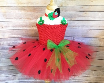 Strawberry costume - strawberry tutu - strawberry dress - girls party dress- gifts for girls - red and green tutu - tutu dress - dress up