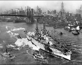 Poster, Many Sizes Available; Uss Arizona On The East River In New York City Near The Brooklyn Bridge On Its Way To Sea Trials. 1918