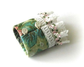 Flower fabric cuff, green fabric bracelet, lace with white trim
