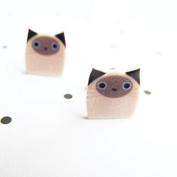 cat siamese, beige, black, stud, earring, shrink plastic,  stainless stud, nickel free, light, handmade, les perles rares
