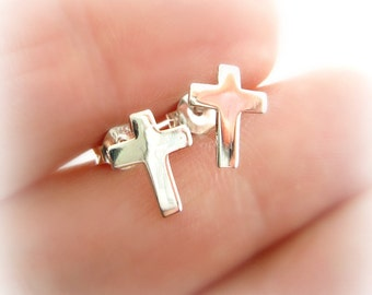 Sterling Silver Cross Post Earrings. First Communion Cross Earrings. Religious Cross Earrings