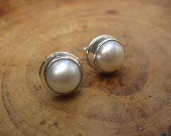 Handmade White Pearl Sterling Silver Studs Post Earrings 8mm
