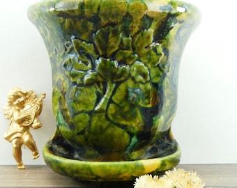 Planter - planter wall - planter - old planter - green - Majolica - ceramic majolica-antique ceramic - french
