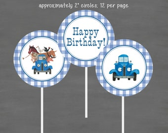INSTANT DOWNLOAD Little Blue Truck Birthday Cupcake Toppers--Custom Printable; Blue Gingham Book Theme