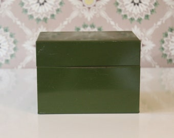 Vintage Index File Box, Army Green File Box, Olive Green Metal Box, Small Metal Box, Small File Box, Office Box, Recipe Box, Green Box