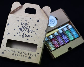Rainbow Eco Glitter set - biodegradable, body glitter, hair glitter, face glitter, beard glitter for festival faces and children's parties.