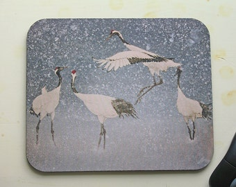 Mouse Pad/Cranes In Snow