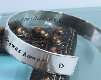 Sterling Silver Handstamped Cuff Bracelet- 7/16 inch width, stamped on both sides