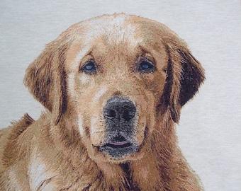 GOLDEN RETRIEVER Portrait tapestry panel fabric coupon