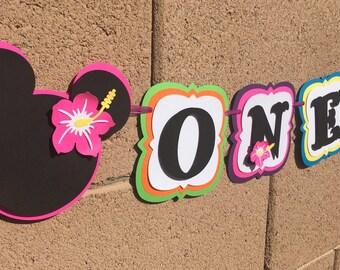Minnie Mouse luau high chair banner, minnie hawaiian banner, high chair banner , minnie mouse luau, Minnie Mouse banner