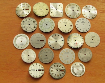 Vintage Watch Faces, Set of 21, Vintage Supplies, Steampunk Supplies, Watch Dial from Antique Movements, Altered Art, Wrist Watch Faces