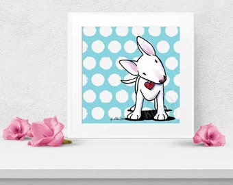 Curious Bull Terrier Dog Kawaii Art Dotted Square PRINT