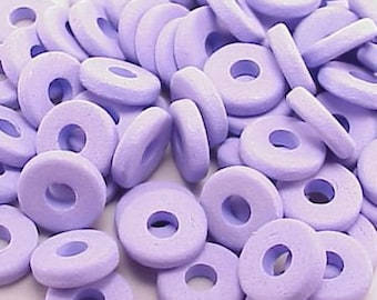Greek Ceramic 8mm Disk Beads 2.6mm Hole Periwinkle 16030 Disc Beads, Narrow Beads, Spacer Bead, Large Hole Bead, Big Hole Bead, Ceramic Bead