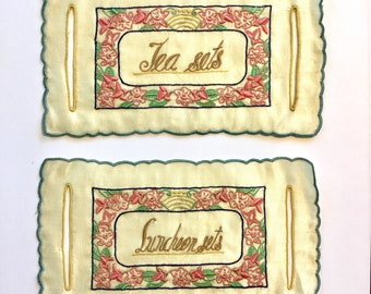 Vintage Linens Tags for Tea and Luncheon Sets, Silk, Ca: 1915.