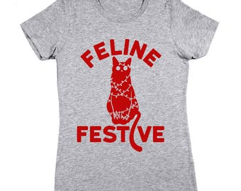 Feline Festive Funny Christmas Cat Xmas Cute Women's T-Shirt DT1653