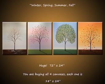 "Art Original Enormous Paintings Wall Decor Modern Contemporary Trees Four Seasons ... 72"" x 24"" ... Winter, Spring, Summer, Fall"