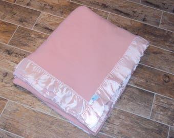 Vintage Dusty Rose Pink 100% Washable Royal Velvet Wool Fieldcrest Queen Blanket/Pink Binding/ Pink Vtg. Blanket/Fieldcrest Blankets 96 X 93