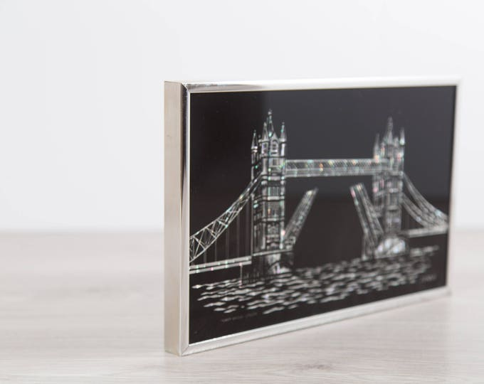 Vintage London Tower Bridge Artwork - Small 1970's Mother-of-Pearl Under Glass Artwork - Black Reverse-Painted Glass by J. Menzies