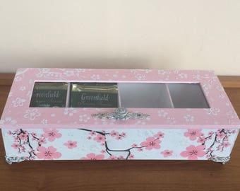 Tea bags holder, Storage organization, Tea Storage box, Wooden tea box, Tea bag box, Decoupage box, Trinket box, Kitchen organization