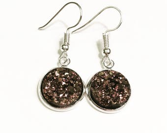 12mm Druzy Earrings, Rose Gold color, Hypoallergenic, Stainless Steel Earrings