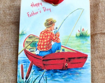 Retro Happy Fathers Day Man Fishing In Boat Gift or Scrapbook Tags or Magnet #380