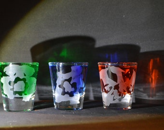 Pokemon evolution starter etched shot glass set of 3 fan art