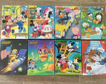 Vintage Jigsaw Puzzles All Pieces For 8 Childrens Intact Boxes 100 Piece