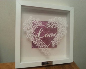 Papercutting template Love and flower heart template