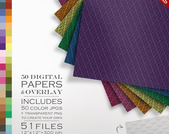80% OFF SALE Art Deco Digital Scrapbook Paper Pack - 50 Color & Art Deco Diamond DIY Overlay - Scrapbook Paper Digital Paper Pack