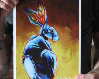Jack Rabbit in Blues and Yellows; Fine Art Print