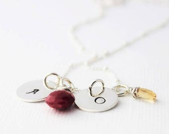 two initials mothers necklace, initials and birthstones, 2 initials, two children, two kids initials, mommy jewelry