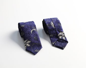 Blue Batik & White Floral Tie for Men